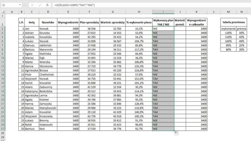 JEŻELI - kopiowanie formuły do końca tabeli