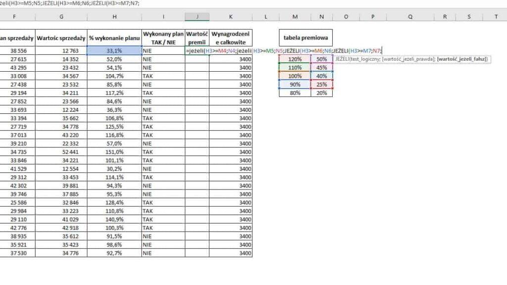 Excel - Funkcja JEŻELI - zagnieżdżenie 4