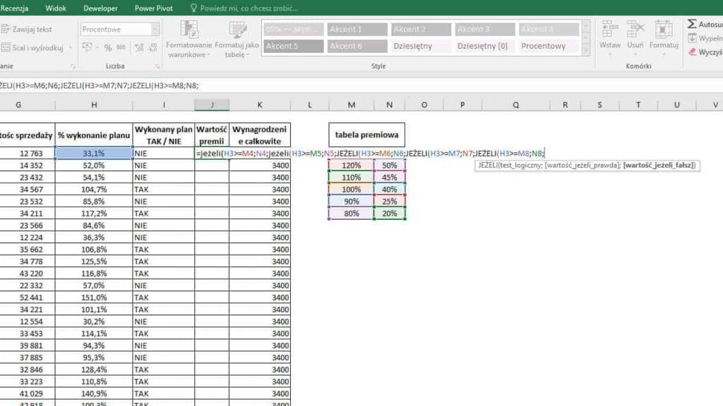 Excel JEŻELI - zagnieżdżenie 5