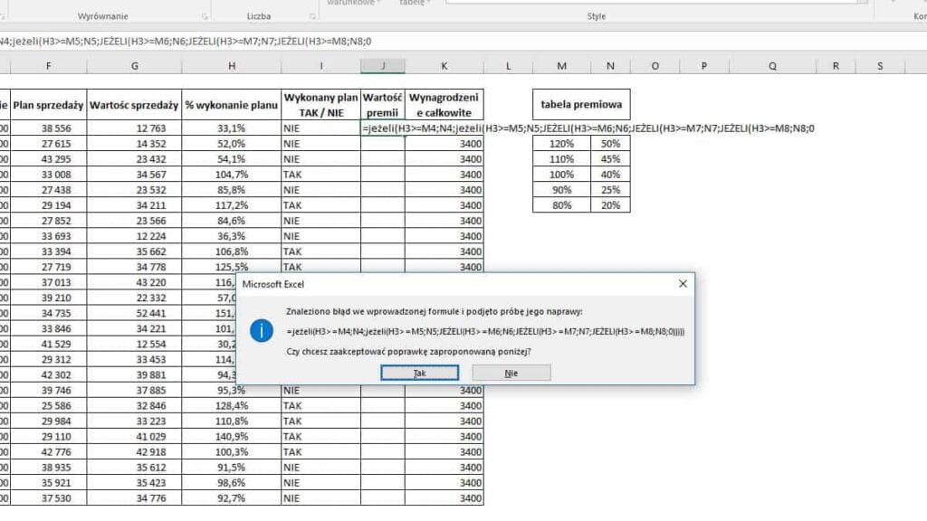 Excel - JEŻELI zagnieżdżenie 6 wraz z komunikatem o błędzie w formule z próbą naprawy - zamknięcie nawiasów.