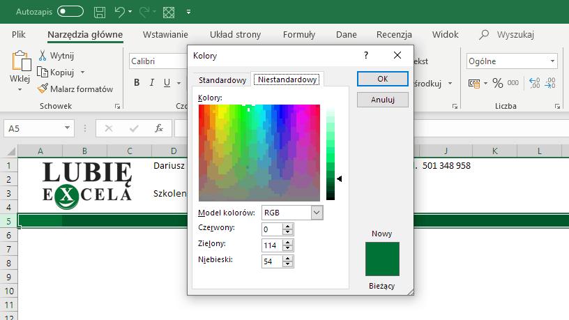 Wybór koloru niestandardowego