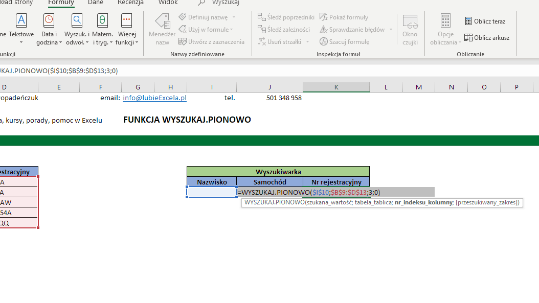 WYSZUKAJ.PIONOWO - kopiowanie formuły do komórki obok