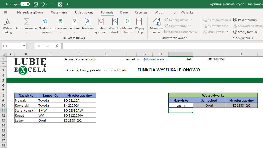 WYSZUKAJ.PIONOWO - sprawdzenie działania przykładu Excela