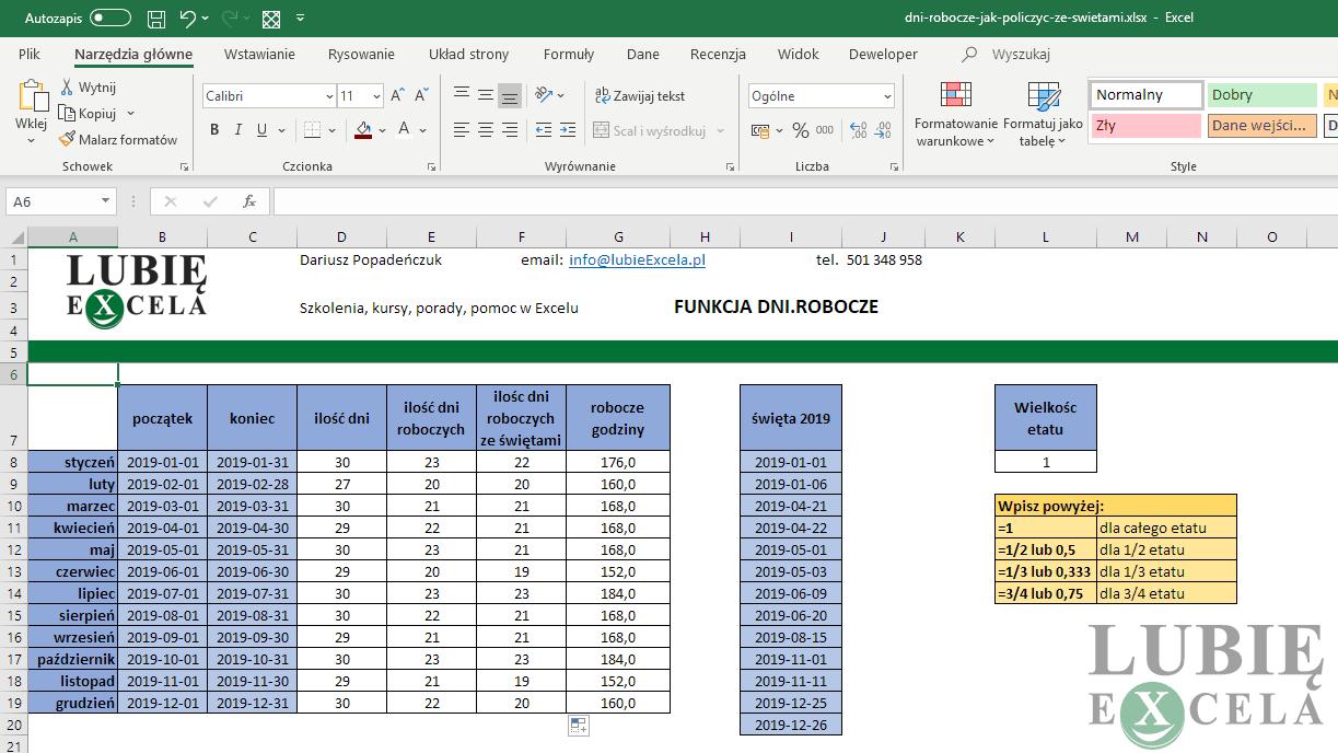 Excel - godziny robocze w miesiącu dzięki DNI.ROBOCZE