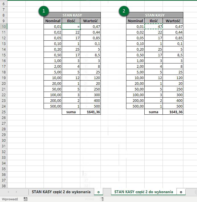 Kopiowanie formuł między arkuszami