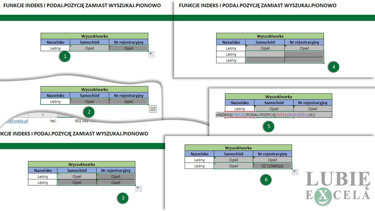 Excel funkcje INDEKS i PODAJ.POZYCJĘ