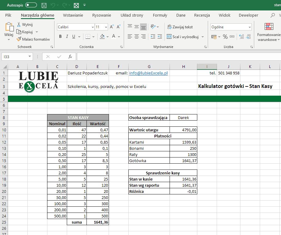 Kalkulator w Excelu z pierwszej części