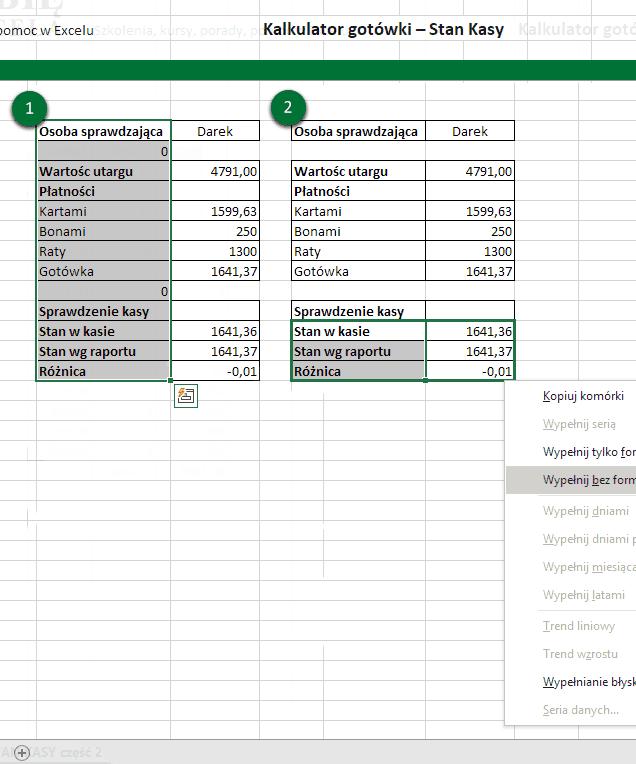 Kopiowanie formuł STAN KASY Excel