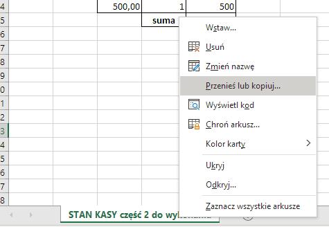 Przenieś lub kopiuj arkusz Excela
