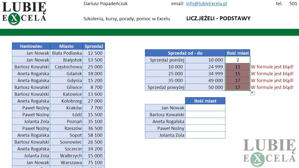 Excel - LICZ.JEŻELI