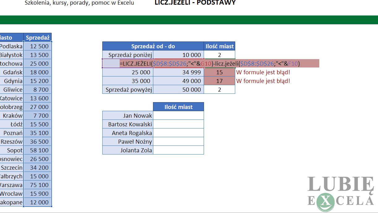 Excel - edycja formuły z LICZ.JEŻELI
