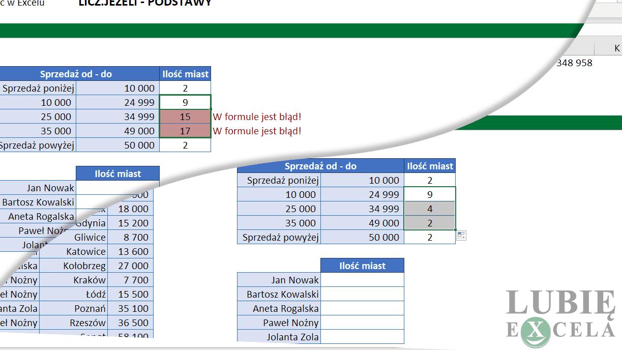 Excel - LICZ JEŻELI kopiowanie formuły