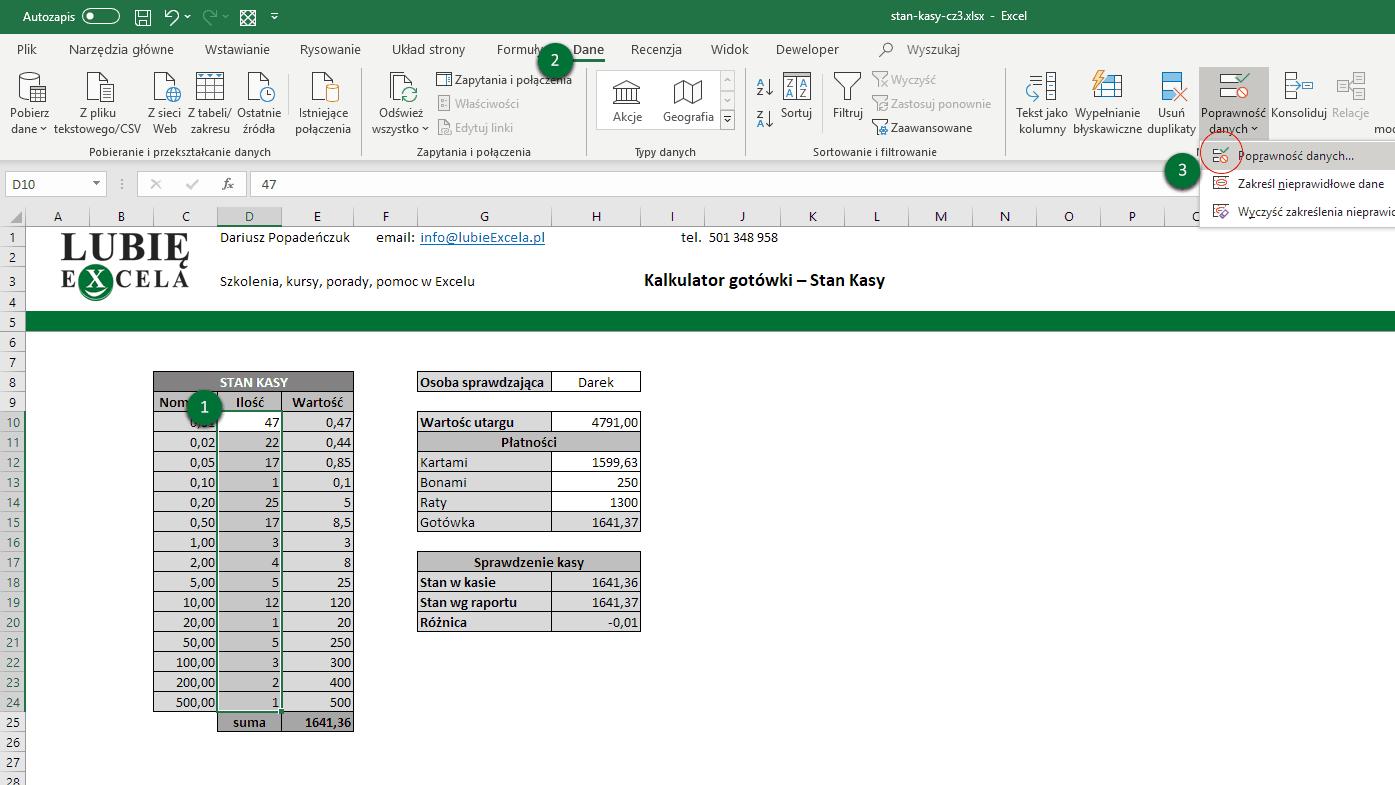 Poprawność danych - Excel