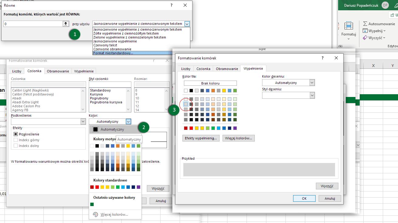 Excel - formatowanie warunkowe - zmiana kolorów
