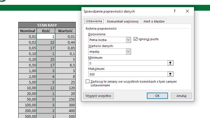Excel - sprawdzenie poprawności danych
