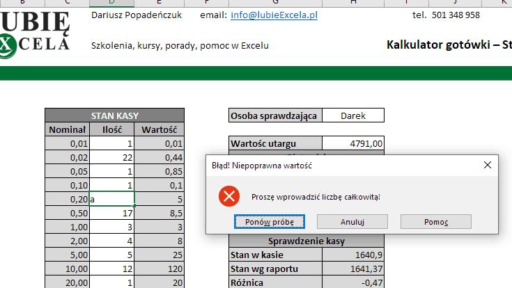 Excel - komunikat o błędzie