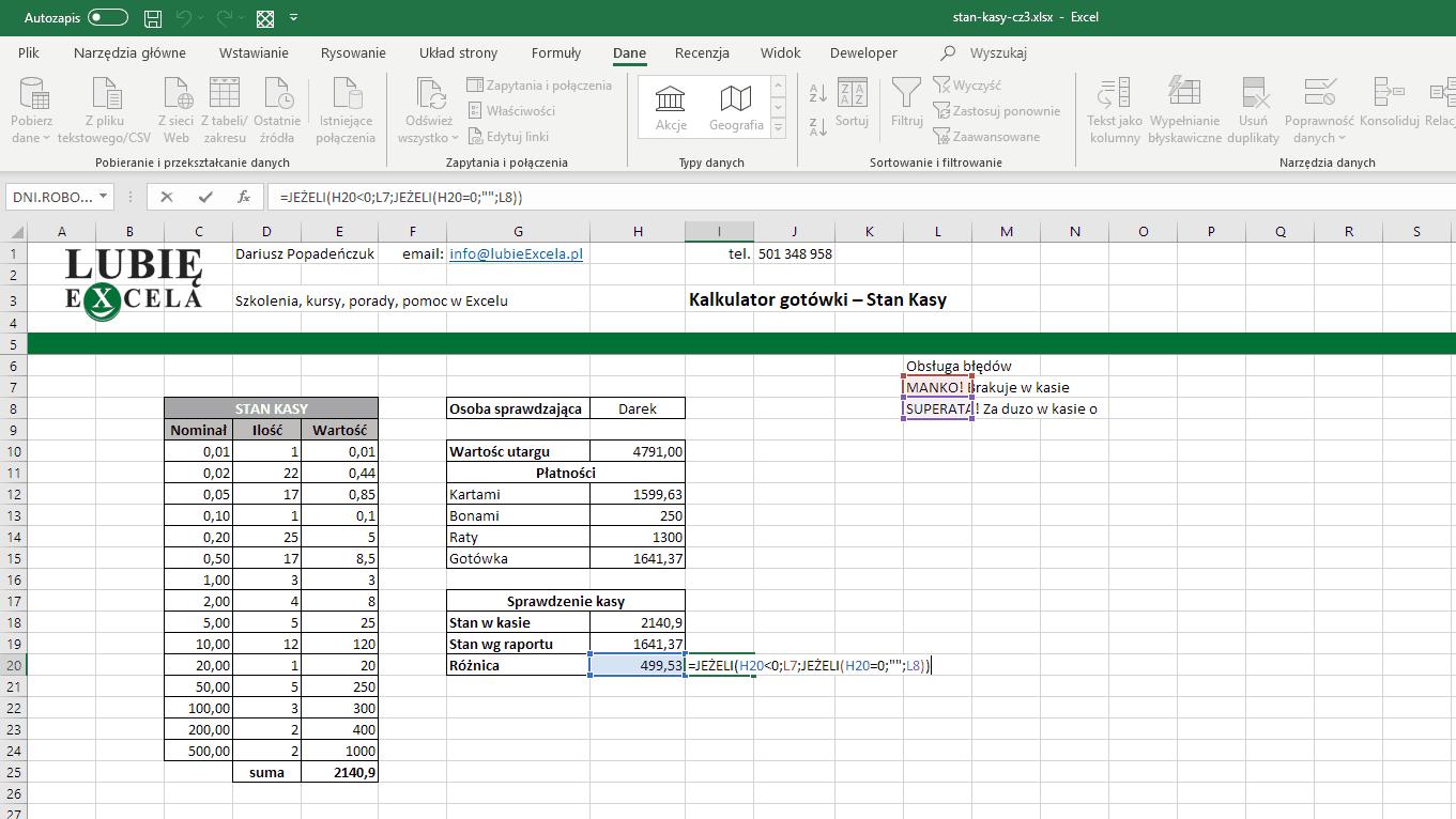 Excel - Obsługa błędów - komunikaty
