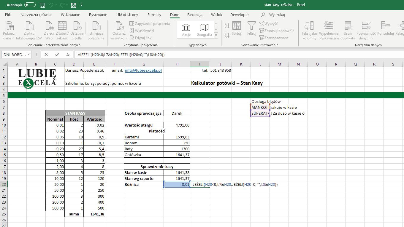 Excel - komunikat o błędzie z wartością