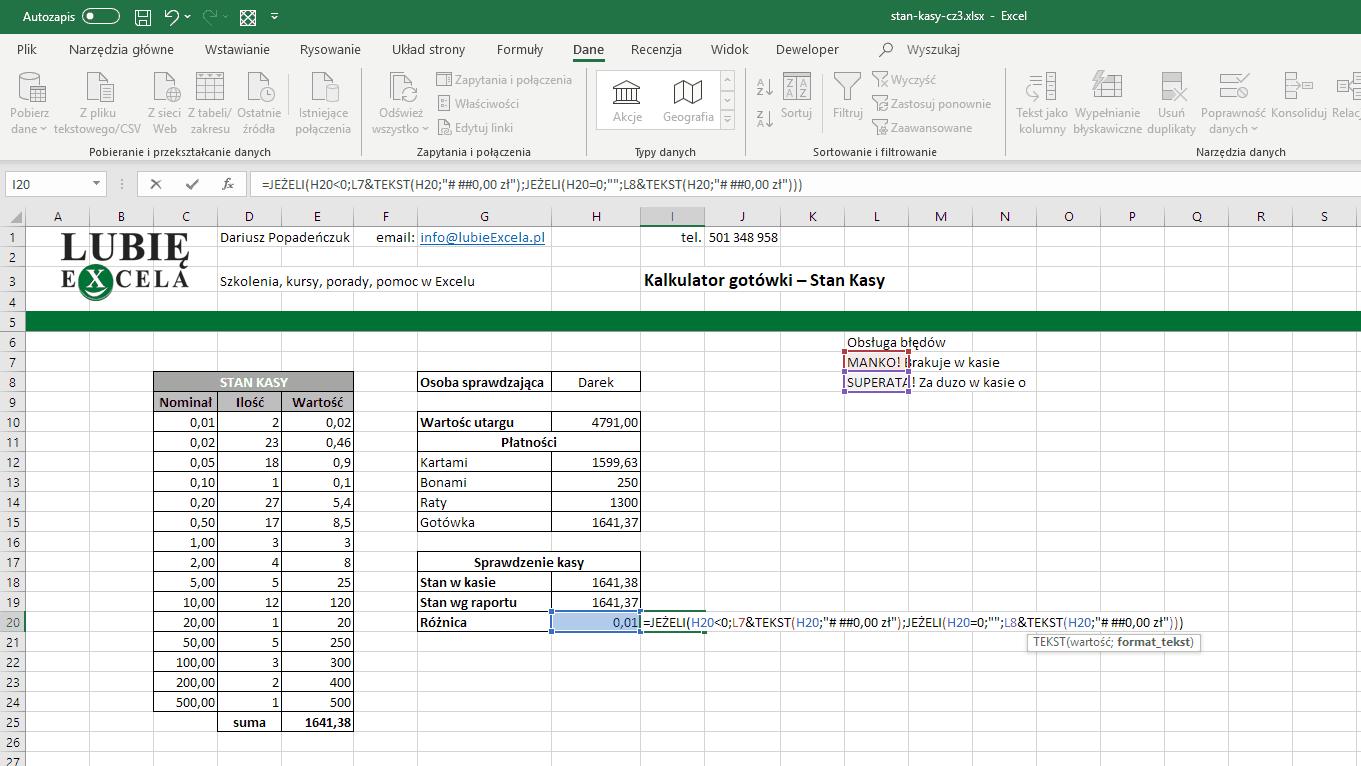 Excel - obsługa błędów - komunikat z wartością sformatowaną