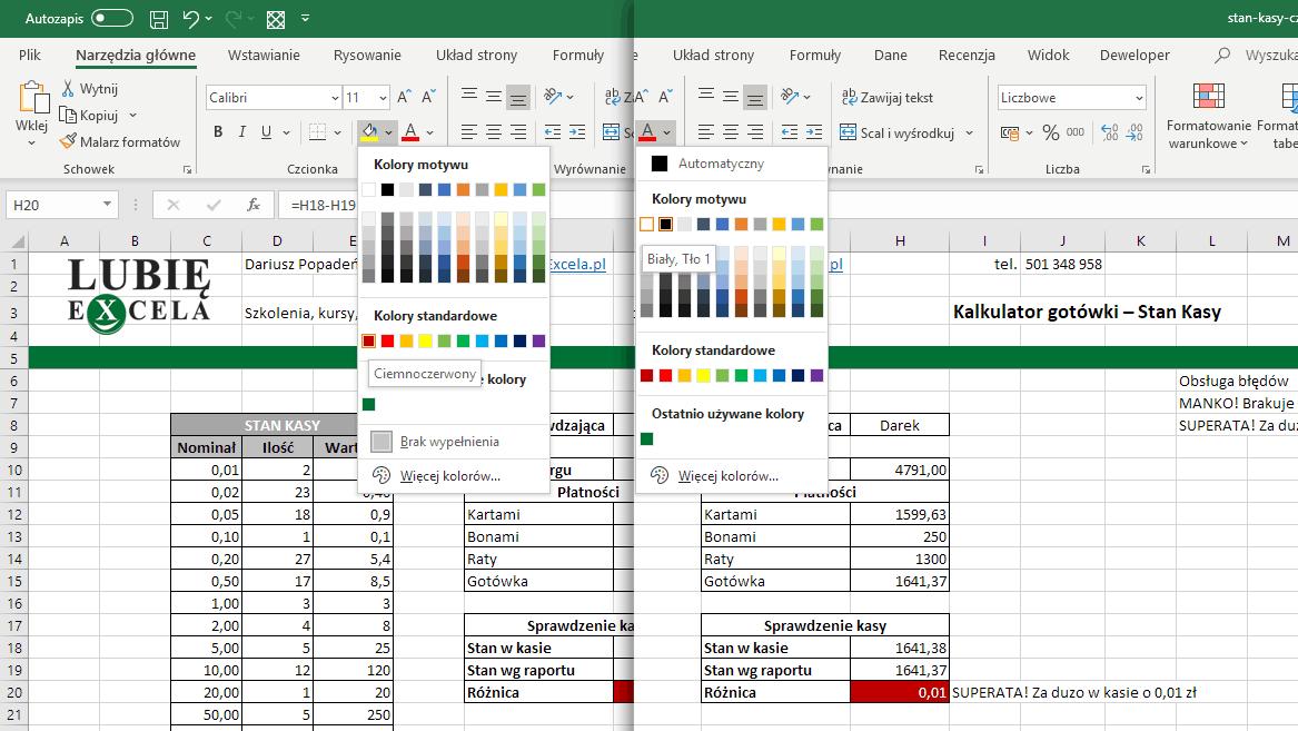 Excel - zmiana kolorów w komórce