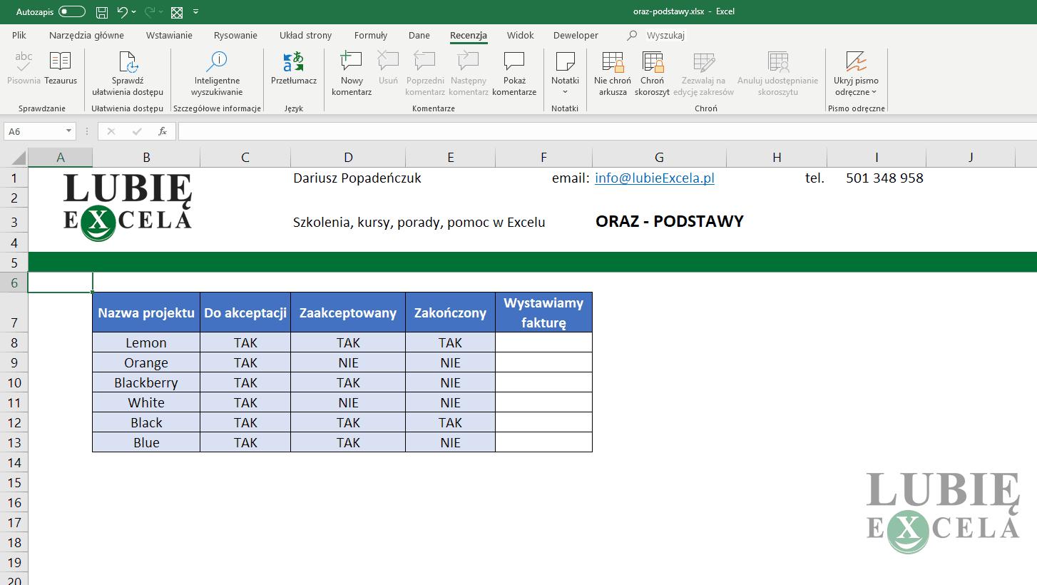 Excel - ORAZ