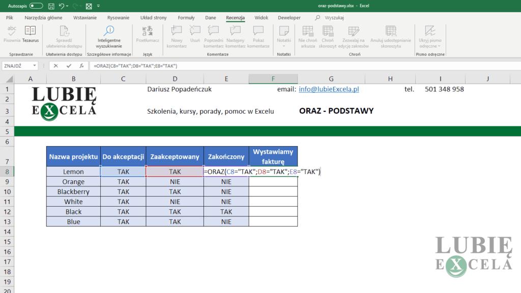 Excel funkcja ORAZ z argumentami