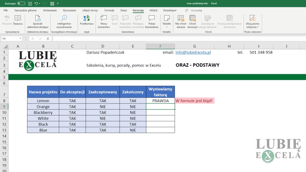 Excel - ORAZ - błąd w formule