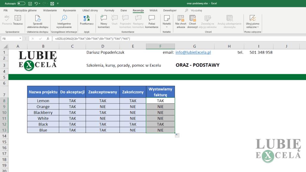 Kopiowanie formuły z funkcją ORAZ