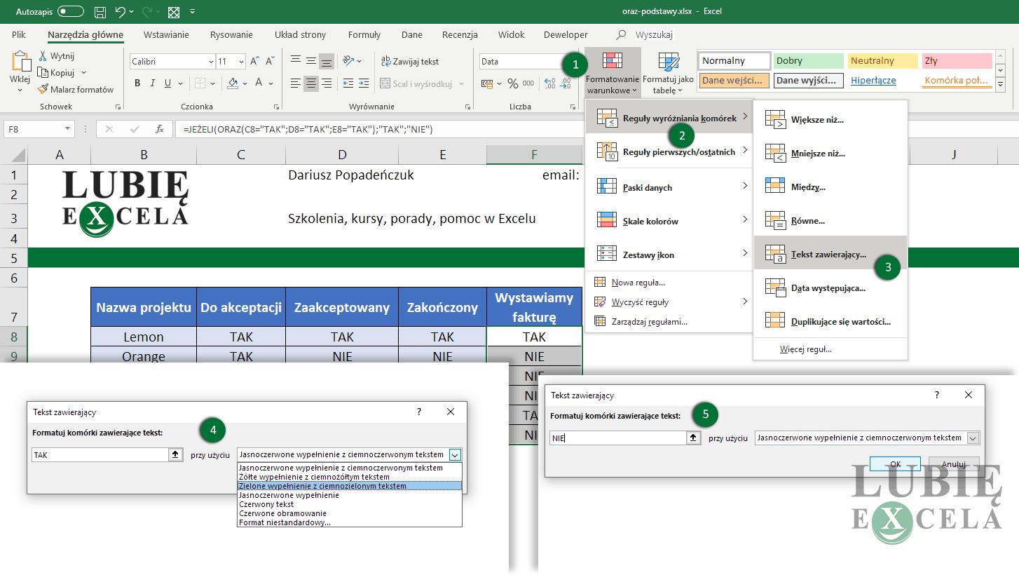 Excel - formatowanie warunkowe