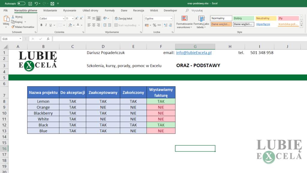 Excel zakończone zadanie z funkcji ORAZ, JEŻELI