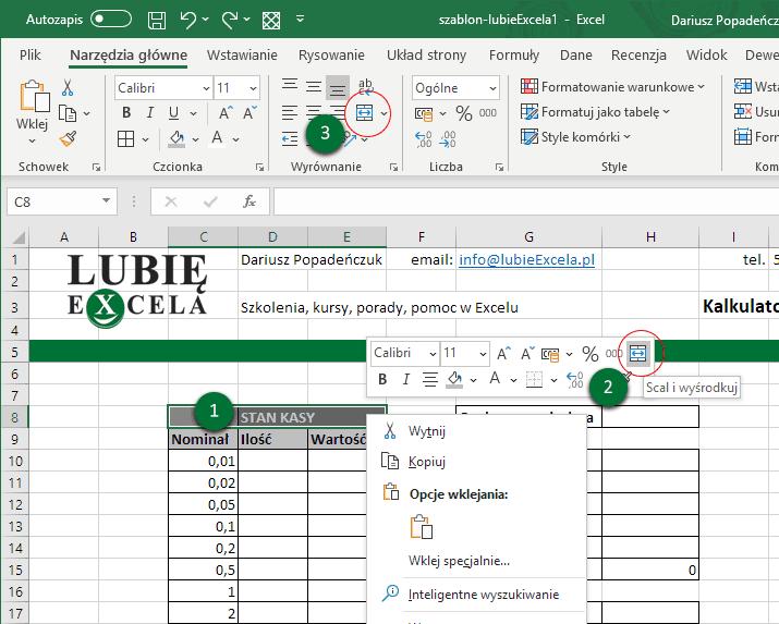 Excel stan kasy scalanie komórek