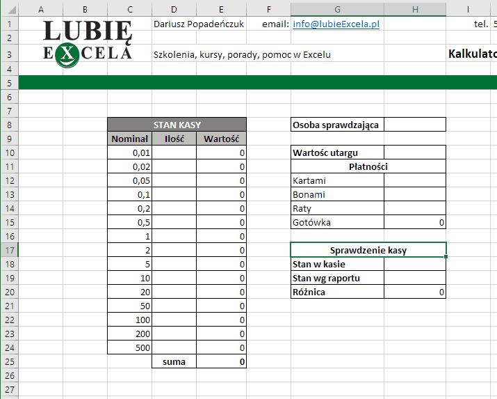 Stan kasy - kalkulator Excel