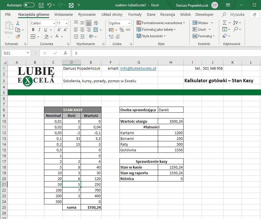Uzupełniony kalkulator Excel Stan Kasy