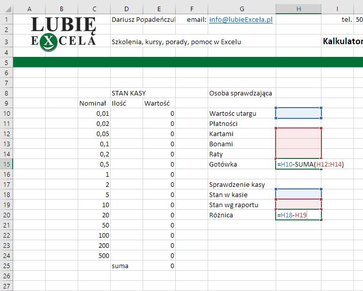 Excel - stan kasy - sprawdzenie zgodności gotówki