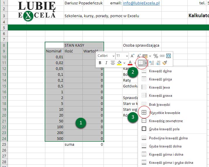 Excel formatowanie komórek - stan kasy