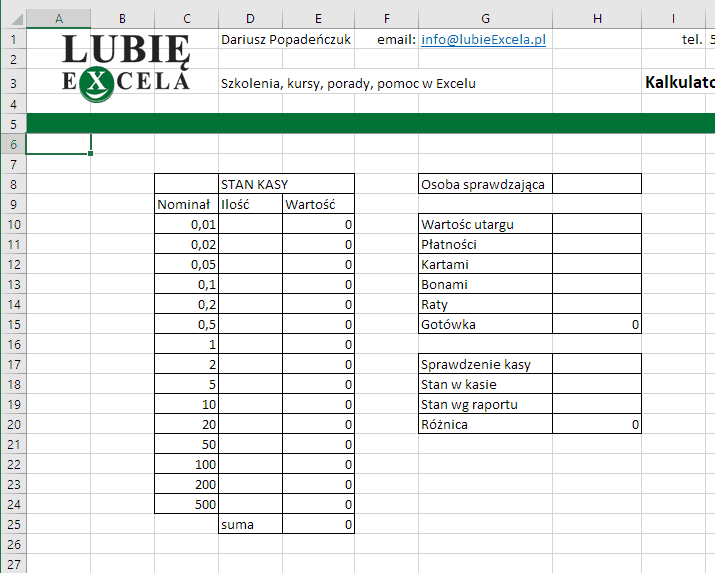 Excel Stan Kasy - sformatowane krawędzie