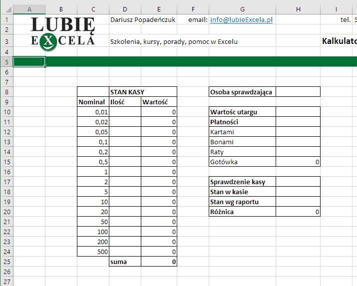 Excel - kalkulator gotówki formatowanie tekstu