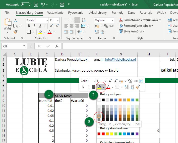 Excel - stan kasy, zmiana tła komórki