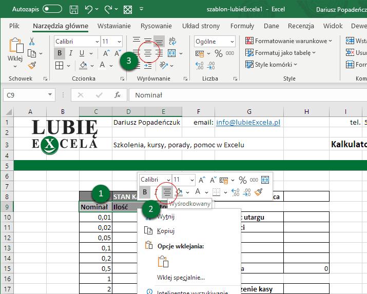 Excel stan kasy - wyśrodkowanie tekstu w komórce