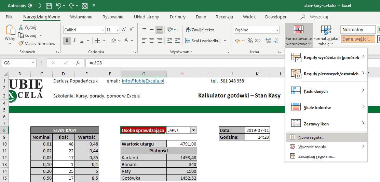 Excel - formatowanie warunkowe - funkcja JEŻELI