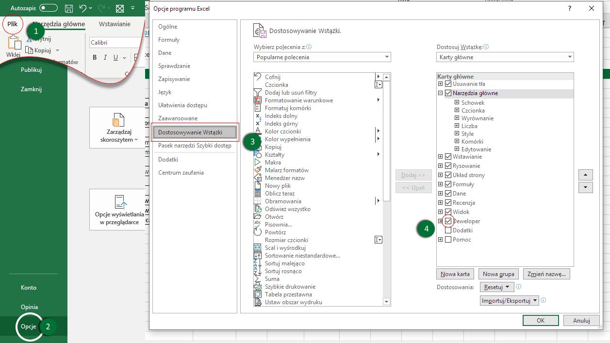 Excel - dodanie zakładki Deweloper do wstążki