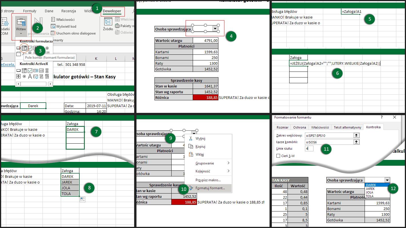 Dodanie listy rozwijanej i jej obsługa w Excelu