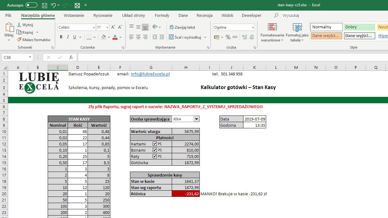 Excel - komunikat z błędem - błędny raport
