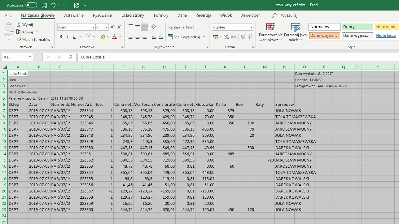 D=Excel - dane wyeksportowane z programu sprzedażowego