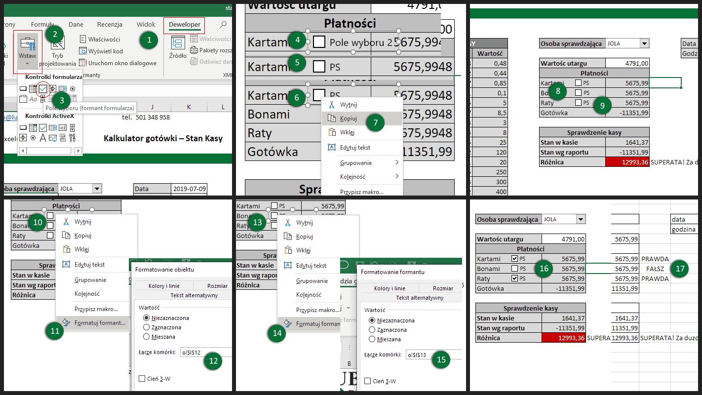Excel - formant Pole wyboru - CheckBox