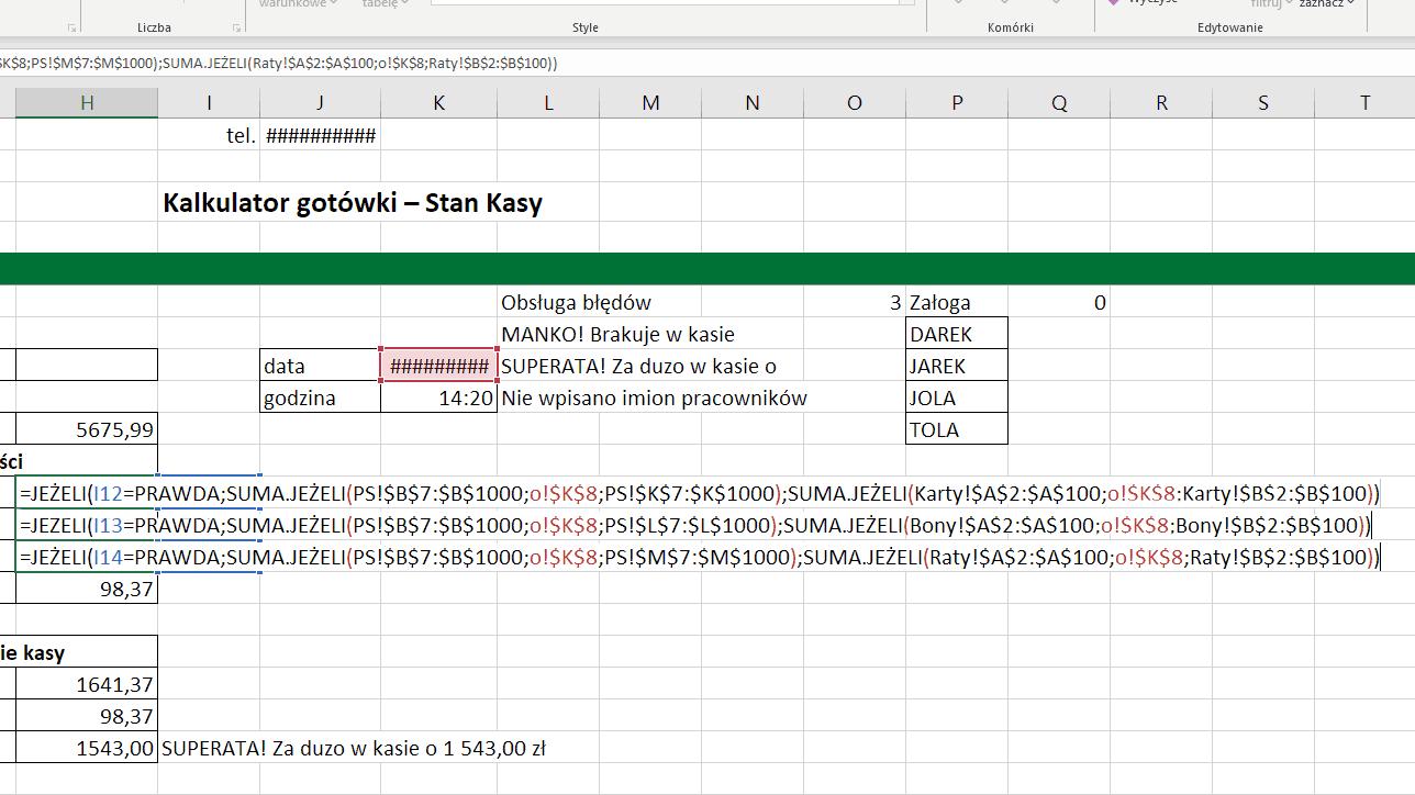 Excel - funkcja JEŻELI sprawdza warunki za pomocą SUMA JEŻELI