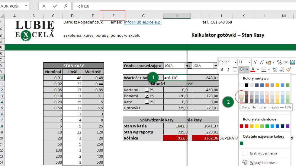 Excel - zmiana koloru tła komórki