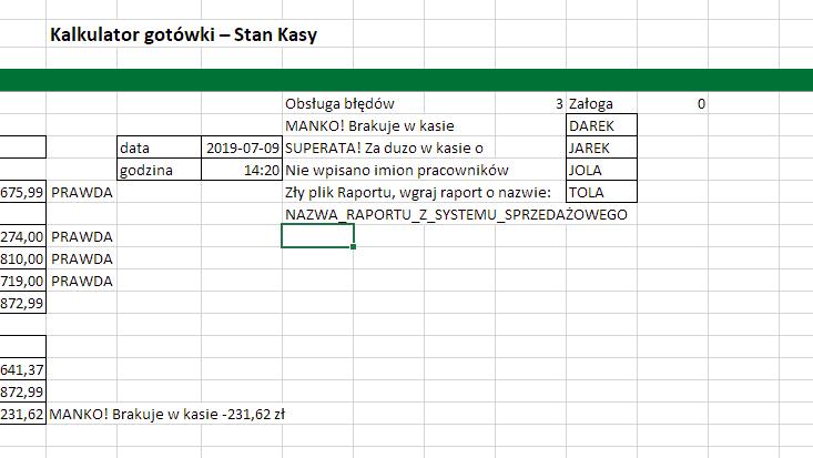 Excel - obsługa błędów