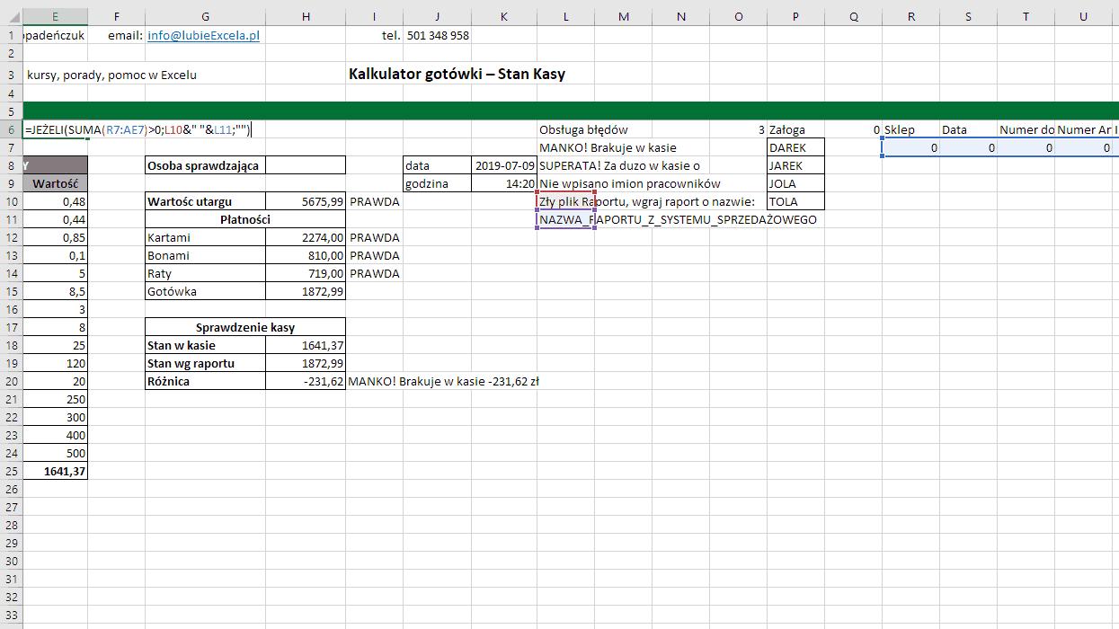 Excel- funkcja JEŻELI sprawdza czy błąd