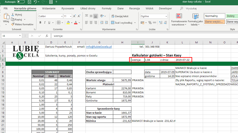 Excel - dodanie informacji o wersji pliku i dacie powstania